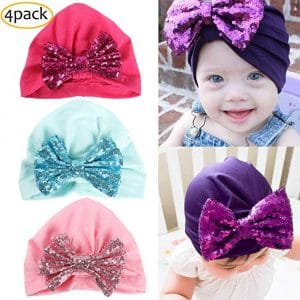 YSense 4 Pack Girls Cotton Baby Hats, Cute Newborn Beanie Caps for Toddler Infant Kids